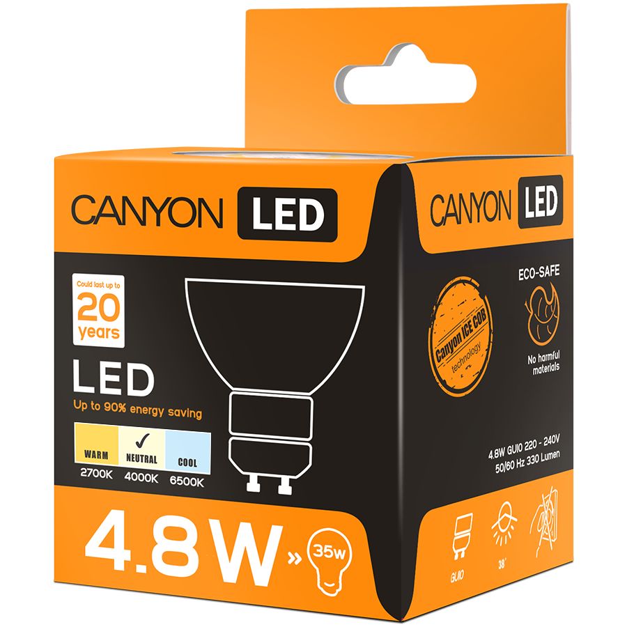 LED Lighting CANYON MRGU10/5W230VN38 CANYON MRGU10/5W230VN38 LED lamp, MR shape, GU10, 4.8W, 220-240V, 38°, 330 lm, 4000K, Ra>80, 50000 h