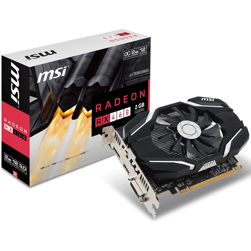 Video Card MSI RX_460_2G_OC MSI Video Card AMD Radeon RX 460 GDDR5 2GB/128bit, 1210MHz/7000MHz, PCI-E 3.0 x16, DP, HDMI, DVI-D, Sleeve Fan Cooler(Double Slot) Retail