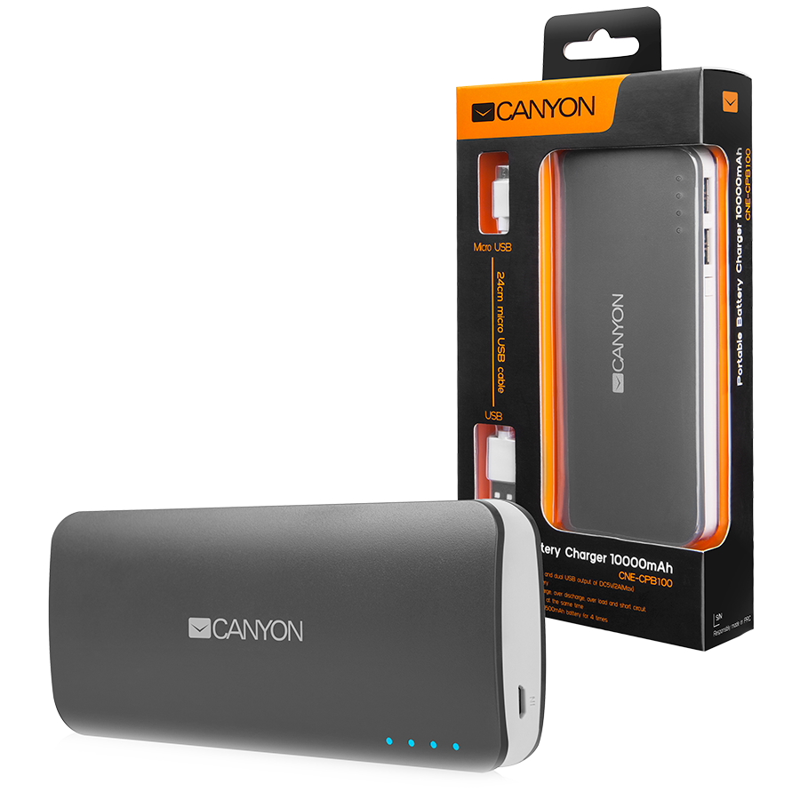 Power Bank CANYON CNE-CPB100DG Battery charger for portable device 10000 mAh (Dark Grey)