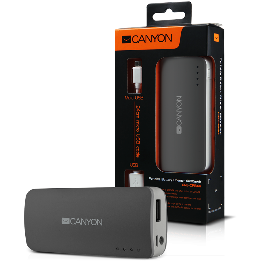 Power Bank CANYON CNE-CPB44DG CANYON CNE-CPB44DG Dark grey color portable battery charger with 4400mAh, micro USB input 5V/1A and USB output 5V/1A(max.)