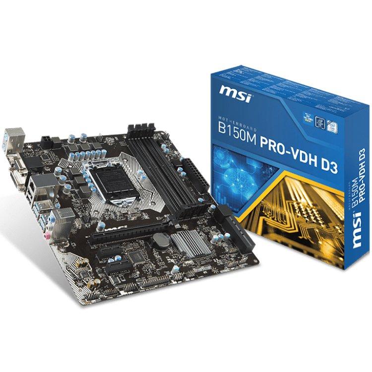 Main Board Desktop MSI B250M_PRO-VDH MSI Main Board Desktop B250 (S1151,4xDDR4,1xPCI-Ex16,2xPCI-Ex1, USB3.0,SATA III,DVI,HDMI,GLAN) mATX Retail