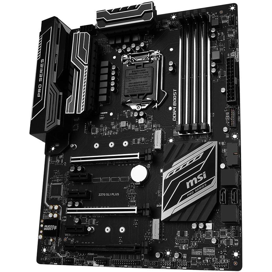 Main Board Desktop MSI Z270_SLI_PLUS MSI Main Board Desktop Z270 (S1151,4xDDR4,3xPCI-Ex16,3xPCI-Ex1, USB3.0,SATA III,DVI,HDMI,GLAN) ATX Retail