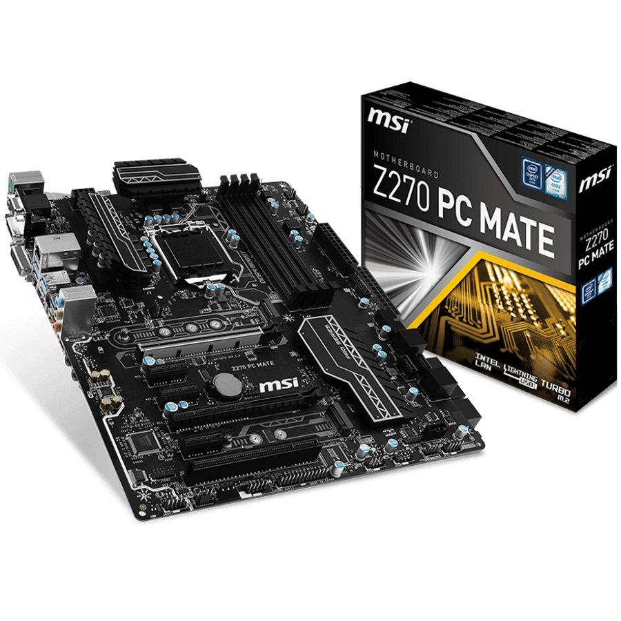 Main Board Desktop MSI Z270_PC_MATE MSI Main Board Desktop Z270 (S1151,4xDDR4,2xPCI-Ex16,3xPCI-Ex1,1xPCI, 2x M.2, USB3.1,USB2.0,SATA III,HDMI,DVI,VGA,GLAN) ATX