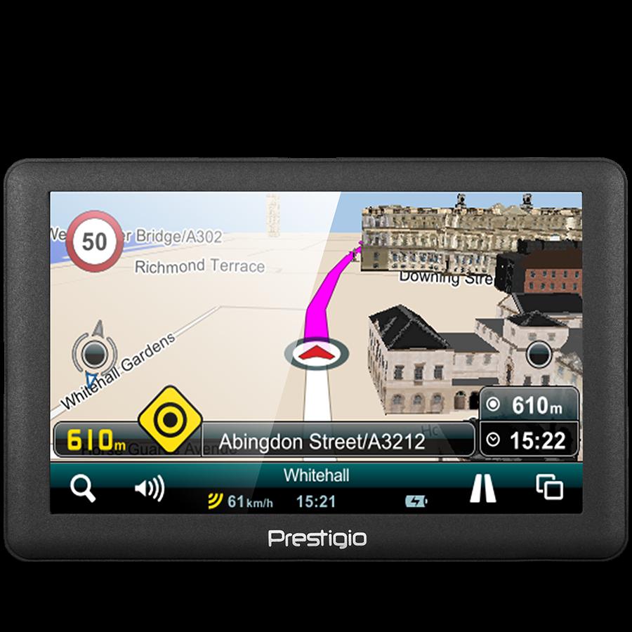 "GPS Navigator PRESTIGIO PGPS5066EU04GBMO Prestigio GeoVision 5066 (5.0"", TFT, 800х480, Win CE 6.0, CPU MSTAR 2531A 800 MHz, 128 MB RAM, 4 GB internal, FM, 950 mAh, Dark Grey, Plastic, Mireo navigation software, preinstalled maps)"
