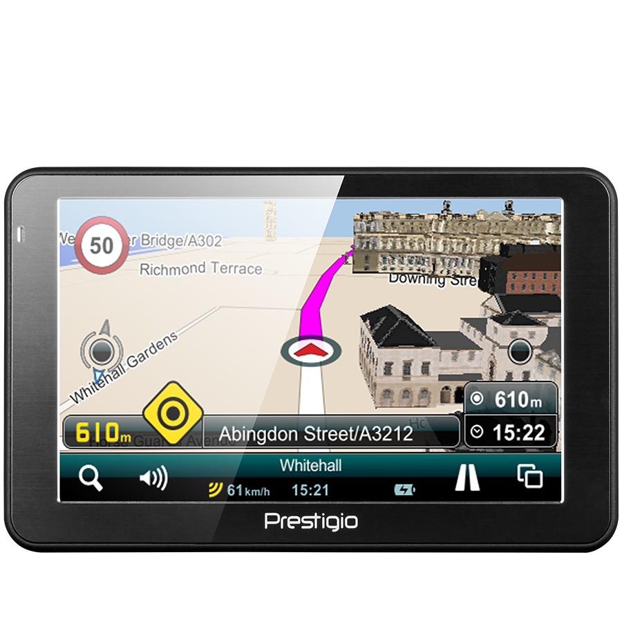"GPS Navigator PRESTIGIO PGPS5068EU04GBMO Prestigio GeoVision 5068 (5.0"", TFT, 800х480, Win CE 6.0, CPU MSTAR 2531A 800 MHz, 128 MB RAM, 4 GB internal, FM, 950 mAh, Dark Grey, Plastic, Mireo navigation software, preinstalled maps)"