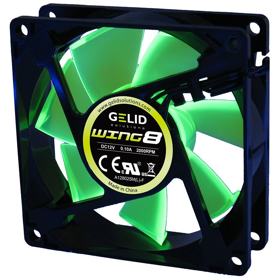 Cooling System GELID SOLUTIONS FN-FW08-20-A GELID WING 8 PL Green 80x80x25 2000RPM Green LED