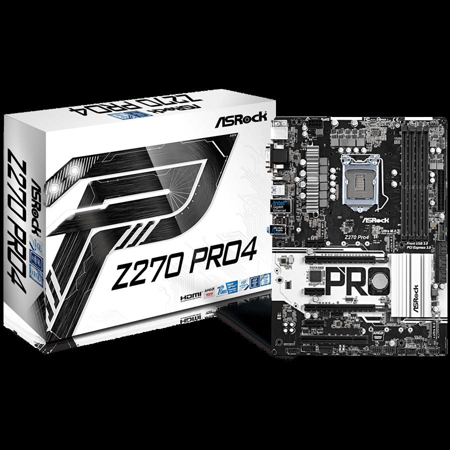Main Board Desktop ASROCK Z270_PRO4 ASROCK Z270 (S1151, 4xDDR4,2xPCI-Ex16,3xPCI-Ex1, 1xPCI, VGA,DVI,HDMI,3 x M.2 (2 for SSD, 1 for WiFi), RAID,  USB3, Type-C, PS/2x1 ( Header COM,TPM) ATX