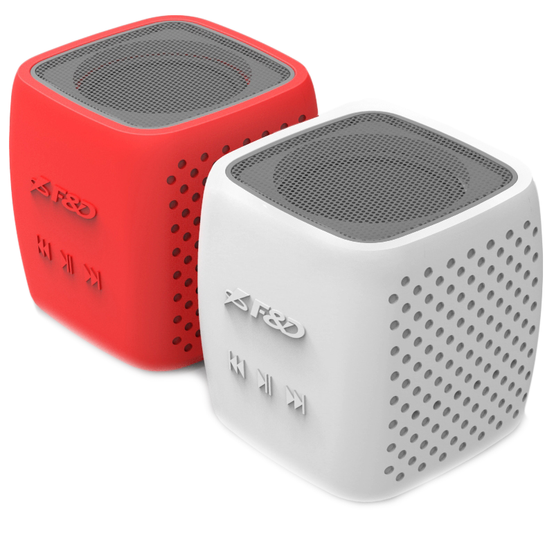 "Multimedia - Speaker FENDA W4_WR Multimedia Bluetooth Speakers F&D W4 - Power output 3W, 1.5"" inch driver and passive radiator, Bluetooth 4.0, 360 degree sound field, changable colorful cover, (micro SD card, 3.5mm Aux input, Li-ion battery 1000mA, Red/Wh"