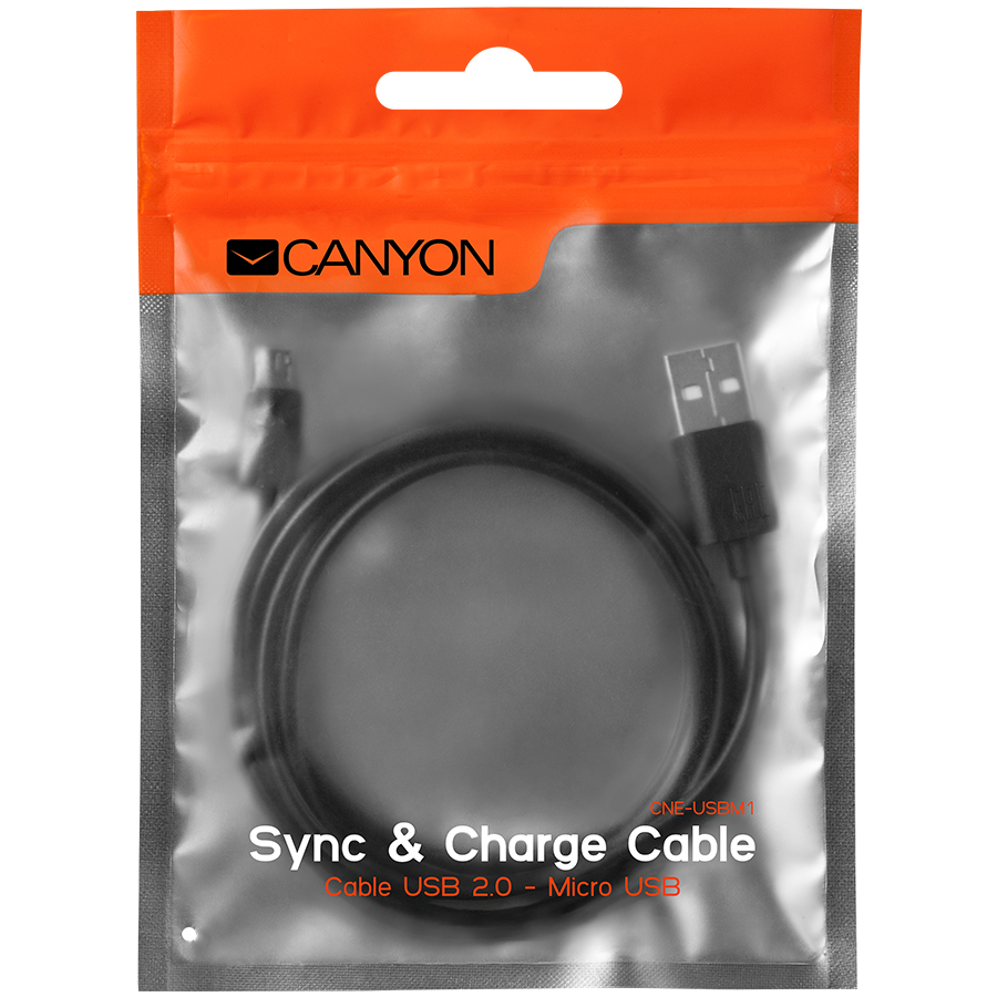 Cables USB CANYON CNE-USBM1B Micro USB cable, 1M, Black