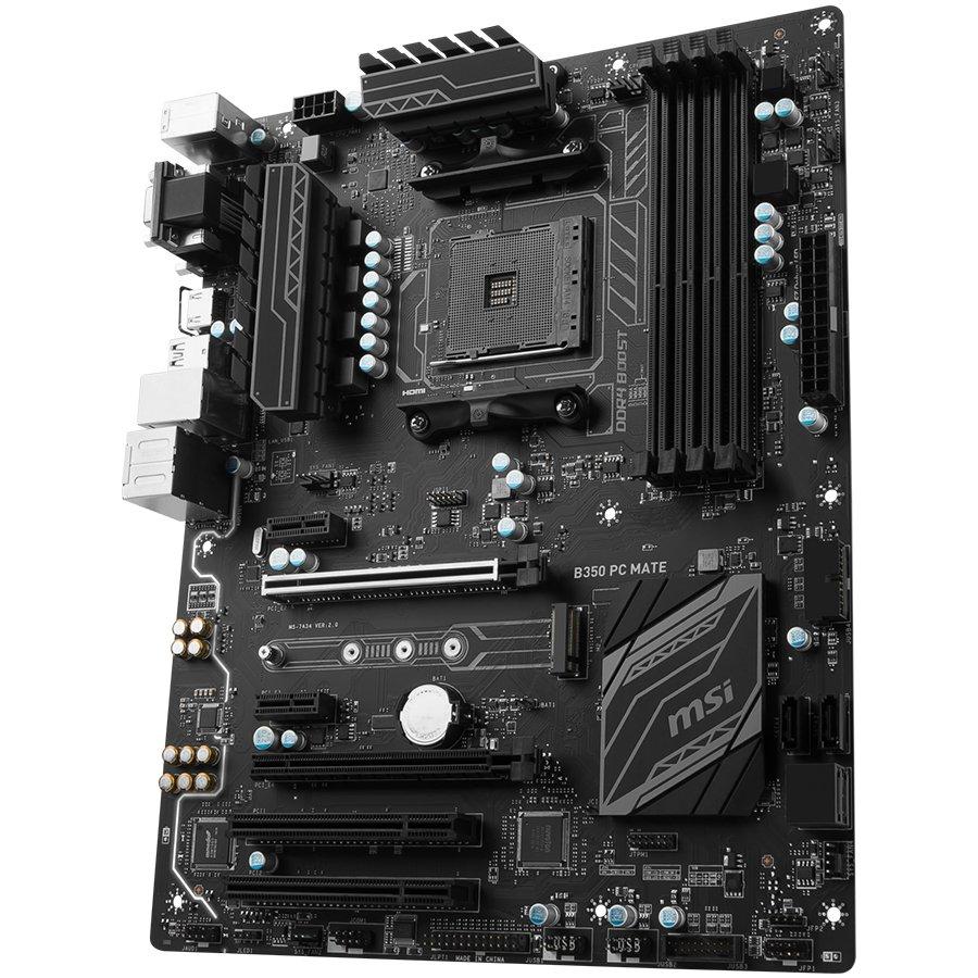 Main Board Desktop MSI B350_PC_MATE MSI Main Board Desktop B350 (SAM4, 4xDDR4, 2xPCI-Ex16, 2xPCI-Ex1, 2xPCI, USB3.1, USB2.0 ,4xSATA III, M.2, Raid, VGA, DVI-D, HDMI, GLAN) ATX Retail