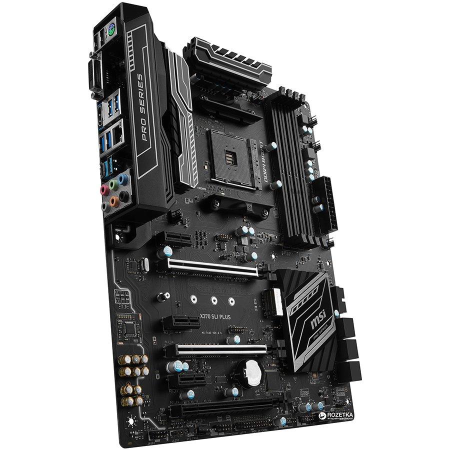 Main Board Desktop MSI X370_SLI_PLUS MSI Main Board Desktop X370 (SAM4, 4xDDR4, 2xPCI-E3.0x16, 1xPCI_E2.0x16,3xPCI-Ex1, USB3.1, USB2.0 ,6xSATA III, 1xM.2, Raid, DVI-D, HDMI, GLAN) ATX Retail