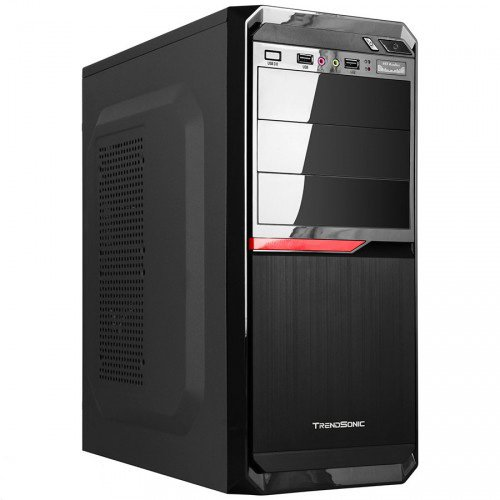 "PC Chassis TRENDSONIC PACE-PA02A-B-BK/RD Chassis PACE-PA02A-B-BK/RD, ATX/ MICRO ATX, 7 slots, 4 X 5.25"", 7 X 3.5"" H.D., 2 X USB2.0 / 1xUSB3.0/2 x AUDIO /, PSU 550W 12 sm, 20+4pin, 2 x IDE, 3 x SATA, 360*175*405mm, 1 x 80mm Back Black FAN /opt/., Black"
