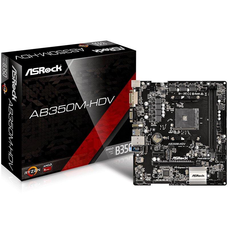 Main Board Desktop ASROCK AB350M-HDV_3Y ASROCK Main Board Desktop AM4 B350 (SAM4,2xDDR4,2xPCI 3.0x16,PCI E 2.0x1 , SATA III,M2,USB3.0,DVD,HDMI,GLAN) mATX Retail
