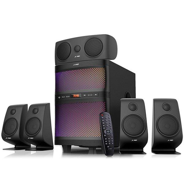Multimedia - Speaker FENDA F5060X Multimedia Bluetooth Speakers F5060X Bluetooth 4.0, (5.1 Channel Surround, 5Wx5+60W (RMS), 160Hz~20KHz, Subwoofer: 25Hz~85Hz, USB/SD card reader, FM, remote control, Wooden, Black)