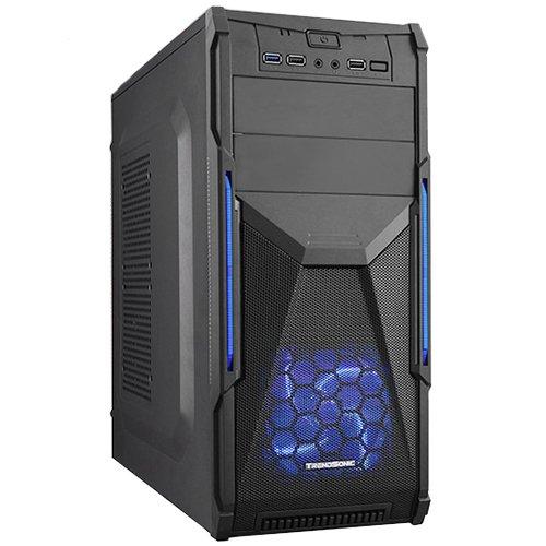 """PC Chassis TRENDSONIC CONQUEROR-CON02A-BK/BLACK_BLUE/550W Chassis CON02A-C/USB3.0, ATX/ MICRO ATX, 7 slots, 2 X 5.25"""", 2 X 3.5"""" H.D., 2 X 2.5"""" SSD, 3XUSB2.0+AV+1XUSB3.0 / 2 x AUDIO /, PSU 550W 12 sm, 20+4pin, 2 x IDE, 3 x SATA, 405*175*405mm, Black/Blue"""