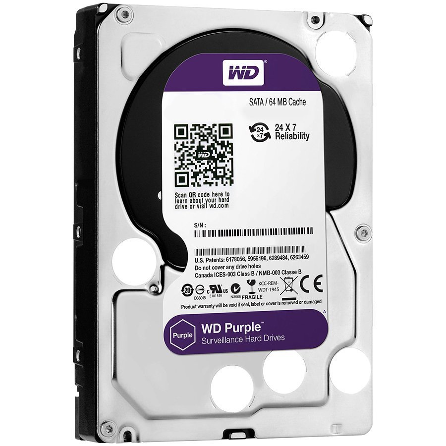HDD Video Surveillance WESTERN DIGITAL WD80PURZ HDD AV WD Purple (3.5'', 8TB, 128MB, 5400 RPM, SATA 6 Gb/s)