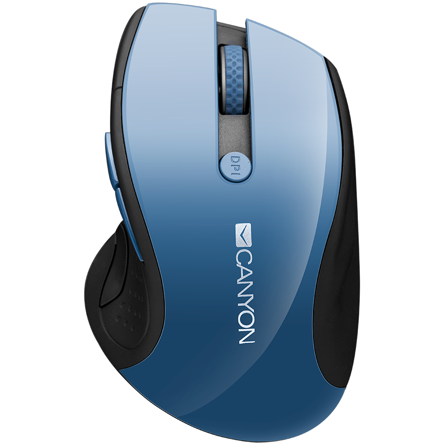Input Devices - Mouse Box CANYON CNS-CMSW01BL 2.4Ghz wireless mouse, optical tracking - blue LED, 6 buttons, DPI 1000/1200/1600, Blue Gray pearl glossy
