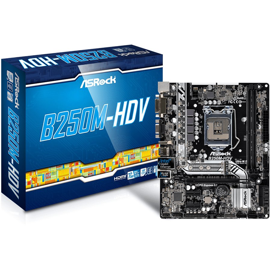 Main Board Desktop ASROCK B250M_HDV_3Y ASROCK Main Board Desktop B250M HDV (S1151, 2xDDR4, 1xPCI E x16, 2xPCI E 3.0x1, SATA III , LAN, VGA, DVI, HDMI, USB3.1, USB3.0) mATX retail