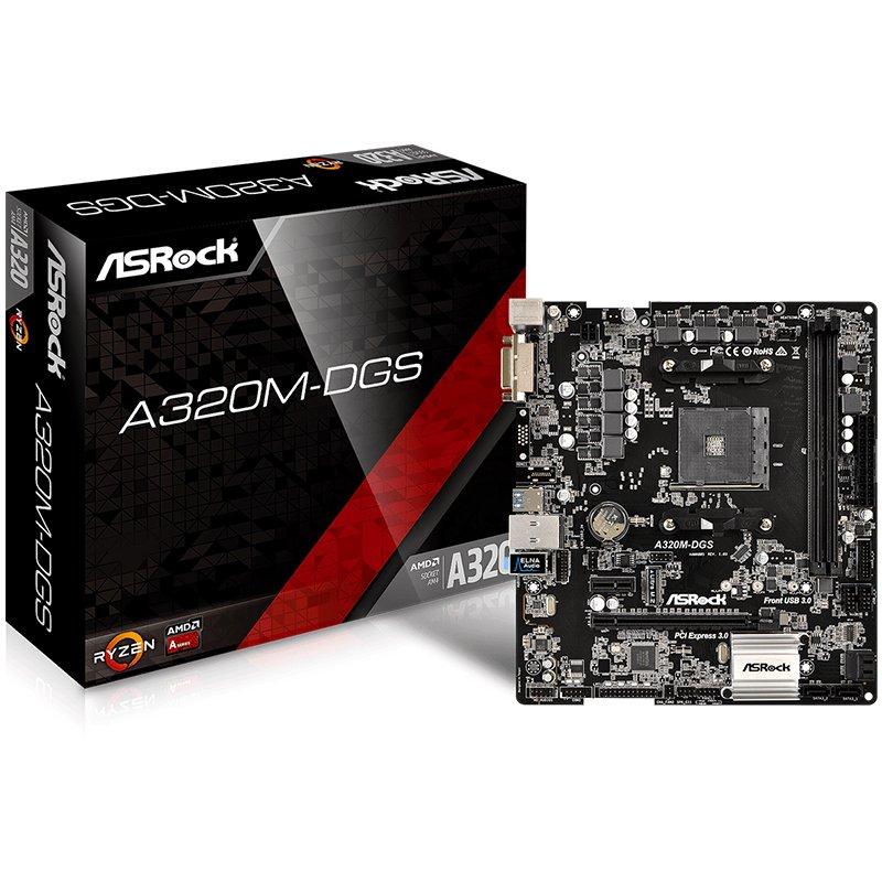 Main Board Desktop ASROCK A320M-DGS ASROCK Main Board Desktop AM4 A320, 2xDDR4, 1xPCI-E x1, 1xPCI-E x16, DVI-D,  4 SATA3, 1 Ultra M.2 NVMe , 6 USB 3.0 (2 Front, 4 Rear)
