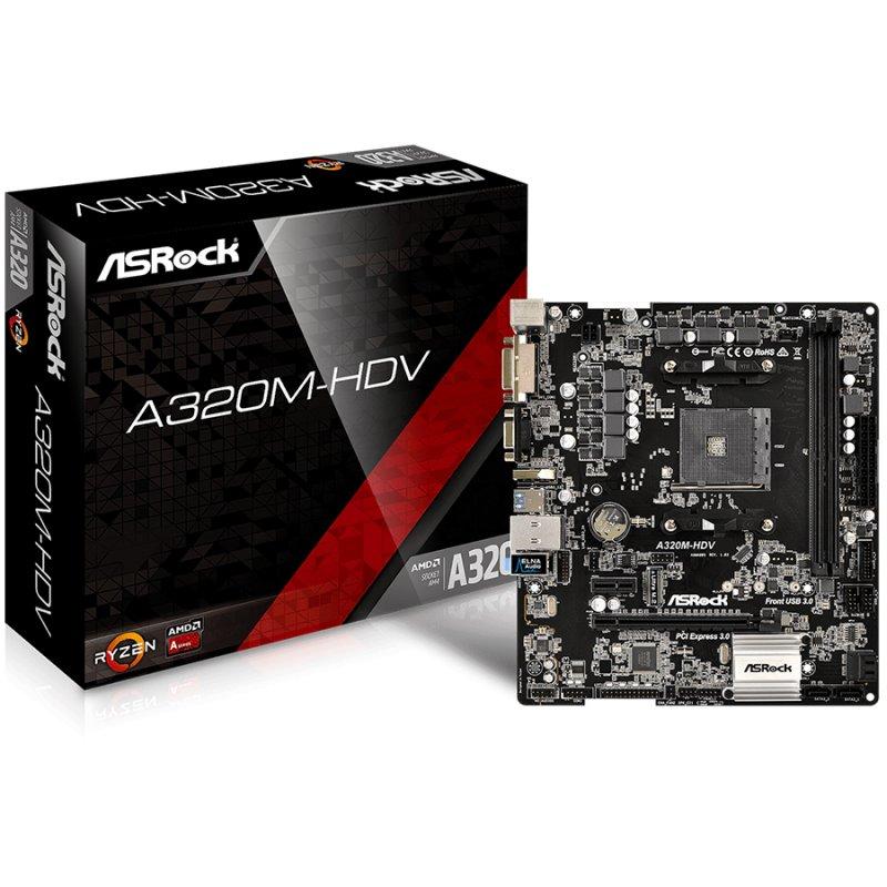 Main Board Desktop ASROCK A320M-HDV ASROCK Main Board Desktop AM4 A320, 2xDDR4, 1xPCI-E x1, 1xPCI-E x16, HDMI, DVI-D, D-Sub, 4 SATA3, 1 Ultra M.2 NVMe , 6 USB 3.0 (2 Front, 4 Rear), Header ( 1 x Print Port- 1 x COM Port ) Micro ATX