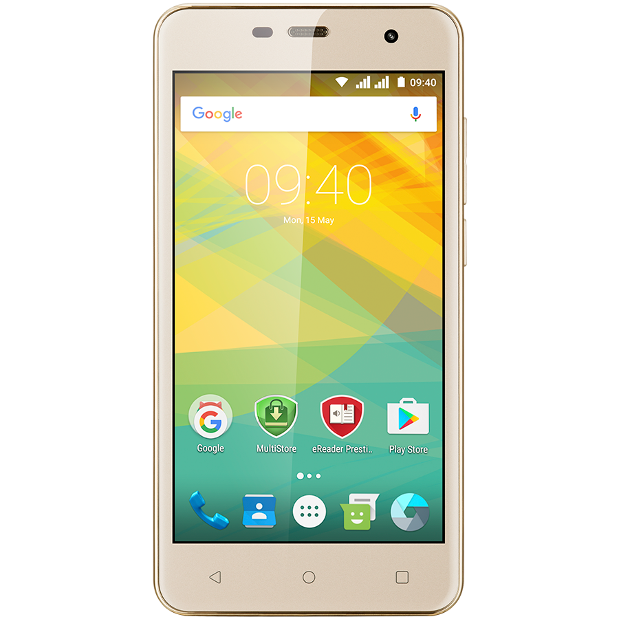 "Smartphone PRESTIGIO PSP3511DUOGOLD Prestigio Muze G3 LTE, PSP3511DUO, dual SIM, 4G, 5.0"" (720*1280) IPS display, Android 6.0 Marshmallow, quad core 1.3GHz, 1GB RAM + 8GB eMMC, 0.3MP front + 8.0MP AF rear camera with LED-flash, 2400mAh battery, golden"