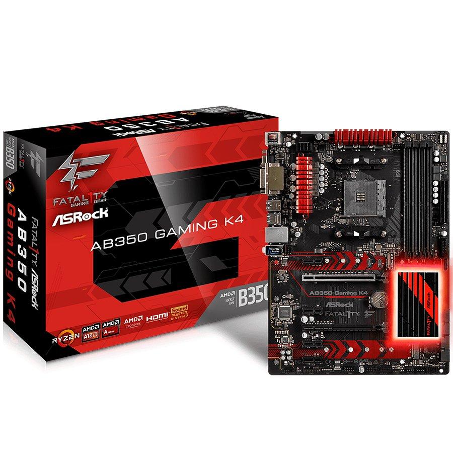 Main Board Desktop ASROCK AB350_GAMING_K4 ASROCK Main Board Desktop AM4 B350 (SAM4,4xDDR4,4xPCI 3.0x16,4xPCI-E2.0x M.2, SATA III,USB3.0,VGA,DVD-D,HDMI,GLAN) ATX Retail