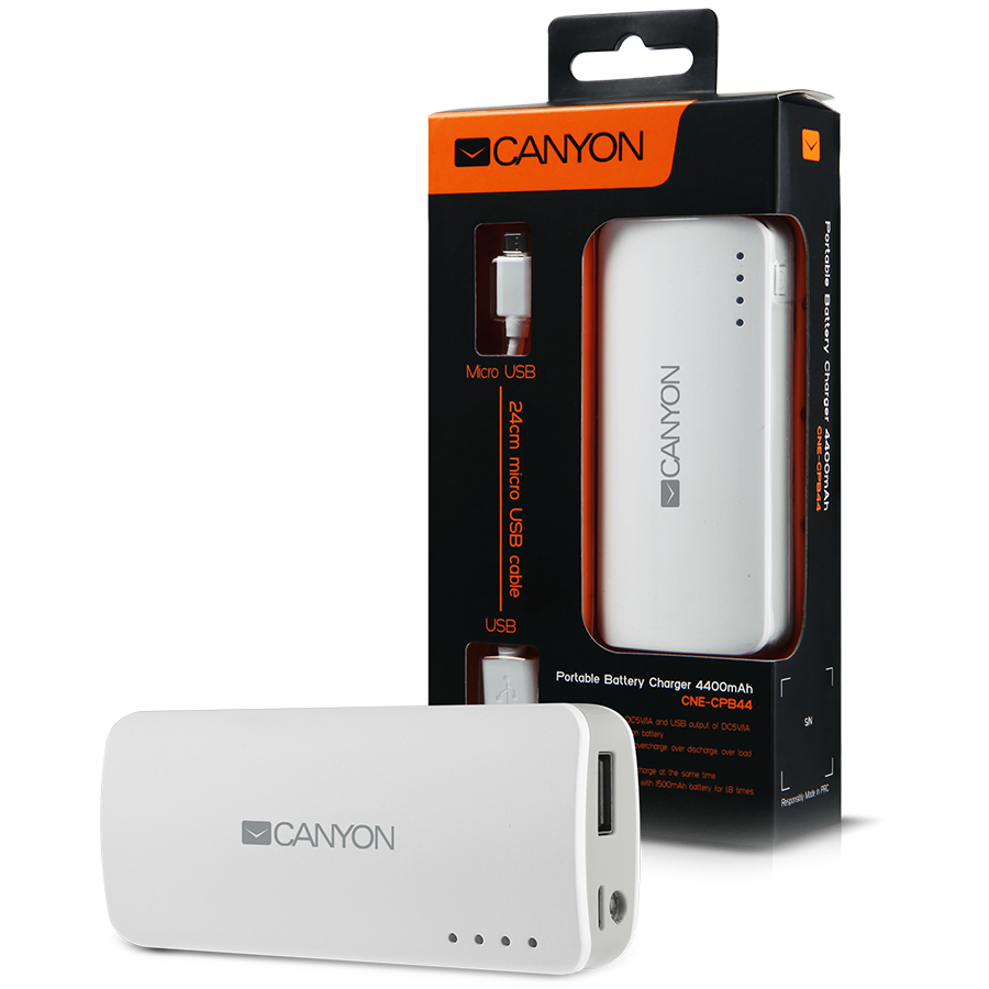Power Bank CANYON CNE-CPB44W CANYON CNE-CPB44W White color portable battery charger with 4400mAh, micro USB input 5V/1A and USB output 5V/1A(max.)