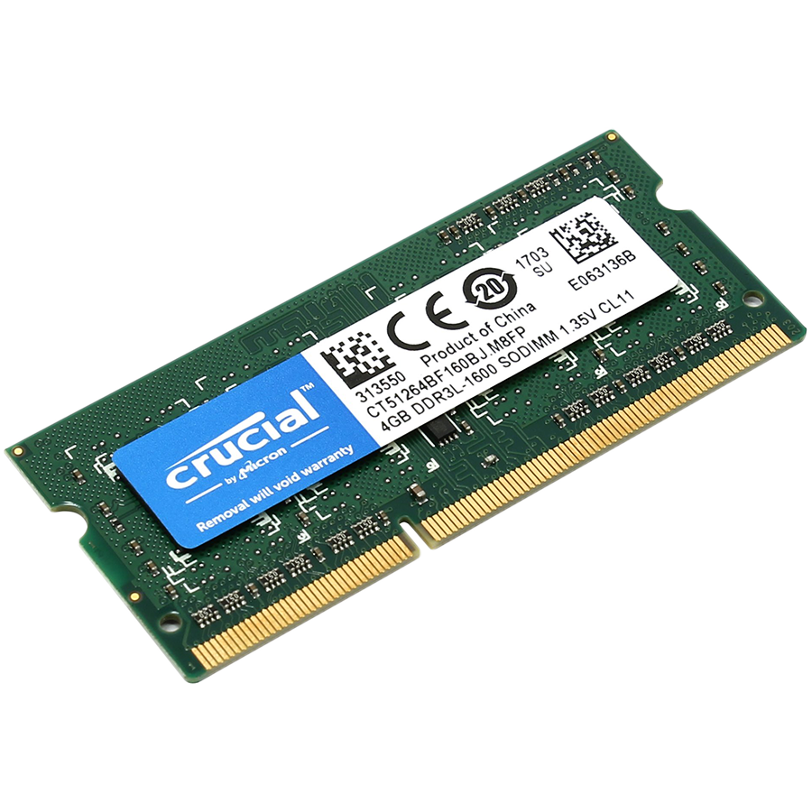 Memory ( Mobile ) CRUCIAL CT51264BF160BJ Crucial RAM 4GB DDR3L 1600 MT/s (PC3-12800) CL11 SODIMM 204pin 1.35V/1.5V Single Ranked